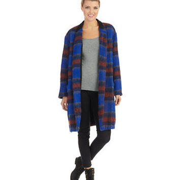 Free People Long And Lean Plaid Overcoat