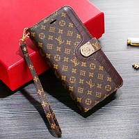 LV Louis Vuitton & GUCCI & Burberry Fashion New Letter Monogram Print Tartan Leather Protective Cover Phone Pase