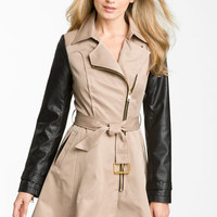 bebe Mixed Media Trench Coat | Nordstrom