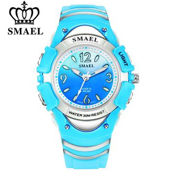 SMAEL Fashion Brand Children Watches LED Digital Quartz Watch Boy And Girl Student Colck Multifunctional Waterproof Wristwatches