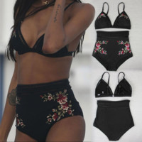 Embroidered Applique Swimwear Sexy Splitsuit