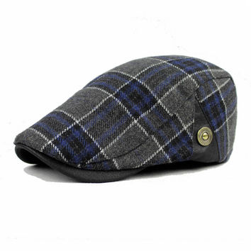Male Wool Blend Grid Blank Newsboy Beret Cap Thick Winter Flat Cowboy Cabbie Hat