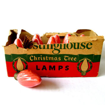 Westinghouse Christmas Tree Lamps / Vintage 1940s 1950s Holiday Lights / Box of 10 Retro Mid Century Decorations