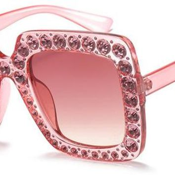 Rhinestone Square Frame Big Sunglasses Women Luxury Brand Black Pink Oversized Sun Glasses for Women Fashion UV400 1150R
