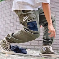 NIKE New fashion letter hook print sports leisure pants Army Green