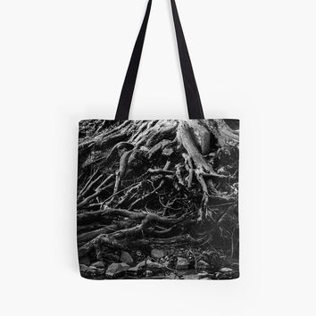 Tree Root Tote Bag, Black and White Tote Bag, Nature Bag, Photo Tote Bag, Grocery Tote, Reusable Grocery Bag, Tree Tote Bag, Tree Bag