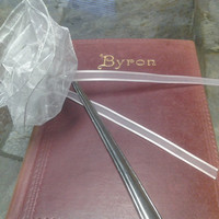 White Fabric Ribbon Large Silver Bookmark with Pink Accent Ribbon