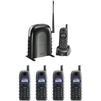 ENGENIUS DURAFON1XPIDW 900MHz Long-Range Cordless Phone System with Base Handset & Four 2-Way Radio Handsets