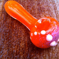 Orange and Purple glass pipe with White Spiral Pattern
