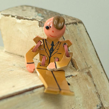 Vintage Army Celluloid Articulated Man Pin Brooch by My3Chicks