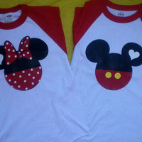 Free Shipping for US Team Mickey Team Minnie Mouse Baseball Couples T-Shirts