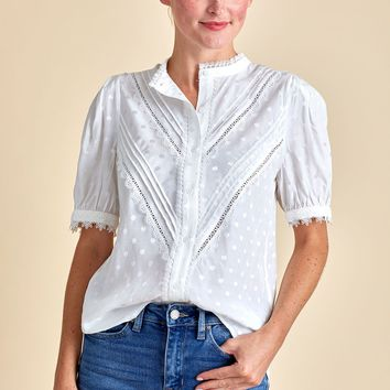 Current Air Lace Detail Button Front S/S Top