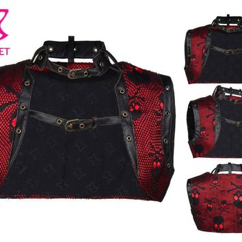 Red / Black Skull Net Sexy Corsets And Bustiers Vintage Gothic Jacket