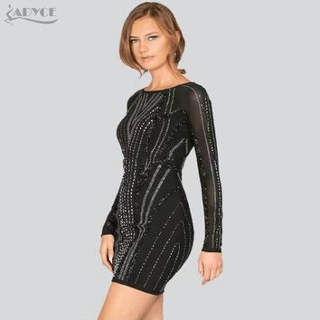 Adyce 2018 New Arrival Black Beading Embellished Bandage Dress Vestidos Sexy Long Sleeve Bodycon Dresses Evening Party Dress