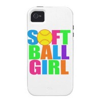 Girls Softball Case-Mate iPhone 4 Case from Zazzle.com