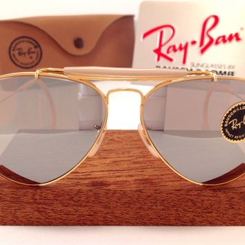 70s B&L RAY BAN USA BROWN OUTDOORSMAN AVIATOR FULL MIRROR BAUSCH LOMB VTG CASE