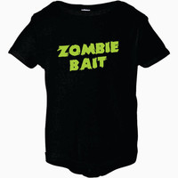 Black and Lime Green Zombie Bait Infant Short Sleeve Creeper