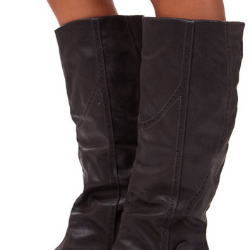 Charcoal Overlay Tall Button Boot