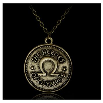 Vintage Percy Heroes of Olympus Coin Double Side Pendant Necklace