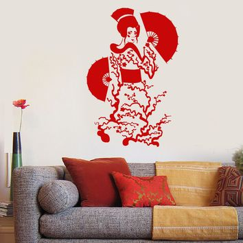 Vinyl Wall Decal Geisha Japanese Asian Girl Woman With Fan Stickers (2579ig)