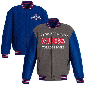 Men's Chicago Cubs JH Design Gray/Royal 2016 World Series Champions Commemorative Melton/Polyester Reversible Jacket