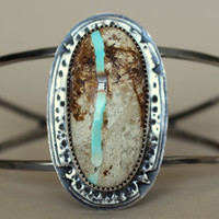 Turquoise sterling cuff bracelet - Royston turquoise bracelect - turquoise cuff - sterling cuff - brown and turquoise cuff bracelet