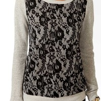 Contrast Lace Front Top