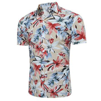2017 Men Summer Floral Casual Shirt Plus Size Short Sleeve Buttons Down Shirts Slim Fit Hawaiian Holiday Beach Lapel Top M-3XL