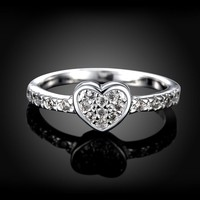Classic Simple Design White Cubic Zirconia forever Wedding Ring Women