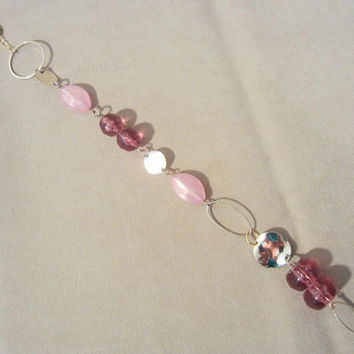 Two-tone Pink & Gold Beaded Mirror Charm, Handmade, Auto Accessory, Sparkle, Bling, Car Charm, Pink Accessory, Unique Style, Modern, Gift