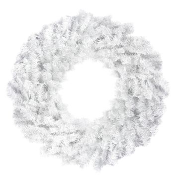 "24"" White Canadian Pine Artificial Christmas Wreath - Unlit"