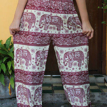 Unisex Hippie Boho Harem Pants Tribal Elephant Yoga pants in red