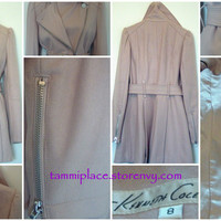 Kenneth Cole Beige Trench Coat w/belt~Stylish~8~Zipper Sleeves from Tammi's Place
