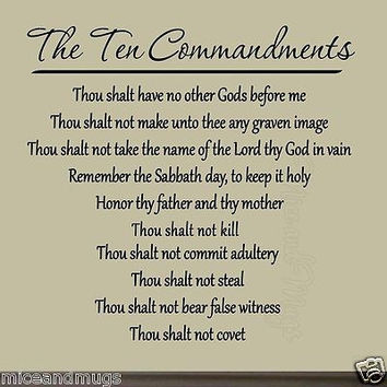 Ten Commandments Vinyl Wall Art Decal Bible Quote God Faith Christian Home Decor