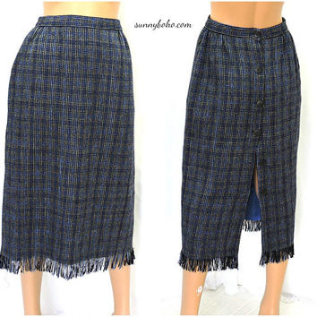 Vintage 80 wool fringed skirt / size S  5 / 6 / wool  fringe skirt / retro high waisted wool long skirt / 1980s blue fringed woven skirt