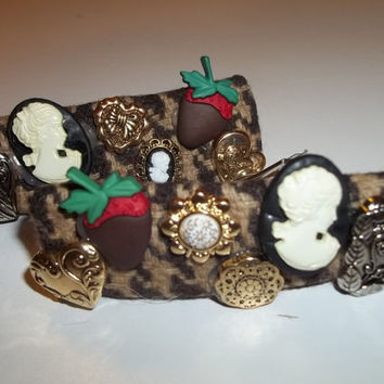 Victorian Strawberry Dark Chocolate (Left) - Victorian Ornament Brown Hair Barrette - Valentine's Day Gift