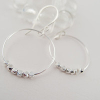 Silver Hoop Earrings with Faceted Fine Silver Beads, Everyday Classic Earrings, Handcrafted, Boho Style, Sundance Style Jewerly
