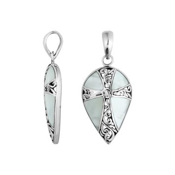 AP-1113-MOP Sterling Silver Pear Shape Pendant With Cross Design Mother of Pearl