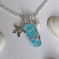 Wire Wrapped Turquoise Sea Glass Pendant