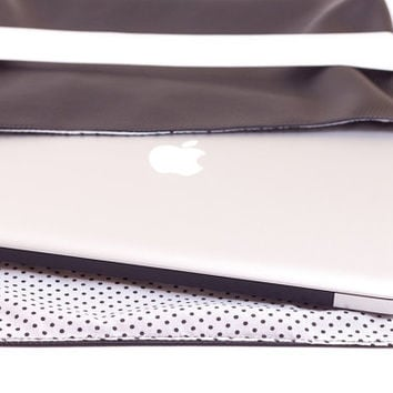 13 Macbook Case Black Leather by fashionmeme on Etsy