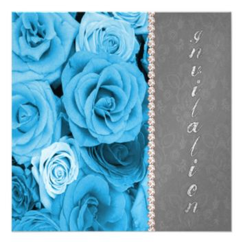 Blue Roses Diamonds Party Invites