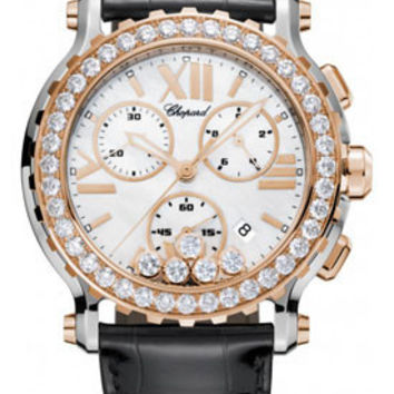 Chopard - Happy Sport - Chrono - Stainless Steel and Rose Gold - Diamond Bezel