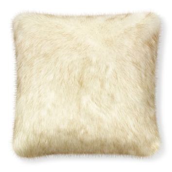 Oversize Faux Fur Pillow Cover, White Sable