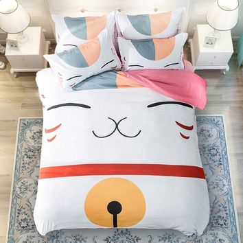 Cool Anime Natsume Yuujinchou Bedding Set For Boys Girls/Kids Duvet Cover Set/Children Cartoon Cat Twin Queen King Size BeddingsAT_93_12