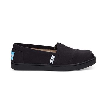 TOMS - Youth Classics 2.0 Black Canvas Slip-Ons
