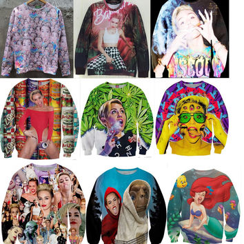Unisex 3D Long Sleeve Hoodies Miley Cyrus/Rihanna Psychedelic Sweat Pullover O-Neck Women/Men Sweatshirt weed TOPS