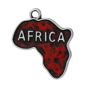 "DoreenBeads Charm Pendants Map antique silver color Red Enamel Message "" AFRICA "" Map Carved 25mm(1"") x 22mm  fashion, 10 PCs"