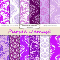 Purple damask digital paper, Damask Digital Paper, digital paper damask, purple digital paper, instant download, purple pattern digital