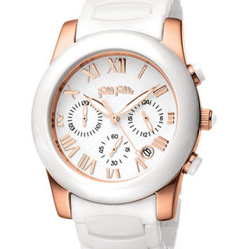Folli Follie Ladies Classy Chic White And Rose Gold Watch