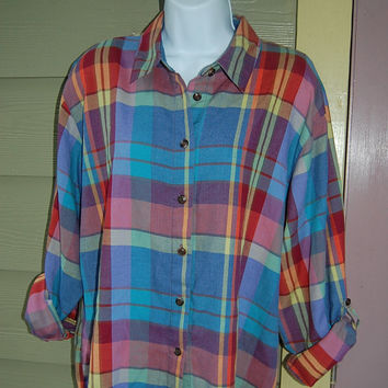 Vintage 80s Koret City Blues Madras Plaid Long Sleeve Button Up Shirt Size L/XL